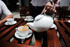 Tea drinking. The waiter pours gold tea in a white cup Stock Photo