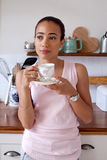 Tea drinking woman Stock Photo