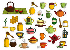 Tea drinks and dinnerware sketch icons. Tea beverages sketches of ceramic and glass teapot, chinese tea set, cup and mug with green leaves of tea and mint, sugar Royalty Free Stock Photos