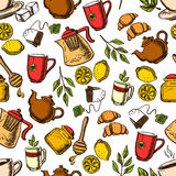 Tea drinks seamless pattern with cups and leaves Stock Photos
