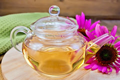 Tea from Echinacea in glass teapot on board. Herbal tea in a glass teapot, fresh flowers echinacea, napkin on a wooden boards background royalty free stock photos