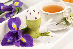 Tea and egg Royalty Free Stock Image
