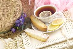 tea för biscotticitrondeltagare arkivbild