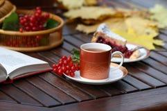 tea för Cherrylivstidspie fortfarande arkivbild
