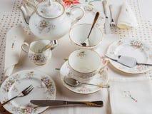 tea för kakacitrontabell Fotografering för Bildbyråer