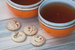 tea för kexar fyra Arkivfoton