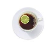 tea för koppcitronlimefrukt arkivbild