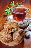tea för meatpies Arkivbilder
