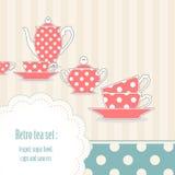 tea för set för prickpolka retro Royaltyfri Bild