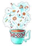 Tea fairy. Children's book illustration markers. Stock Images