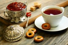 Tea with fig jam. Stock Photography