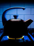 Tea on fire. Cold ambient and tea over the fire stock images