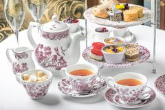 Afternoon tea party china sandwich dessert royalty free stock photo
