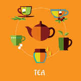 Tea flat concept Stock Image