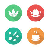 Tea flat design icons set Royalty Free Stock Images