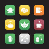 Tea flat design icons set Royalty Free Stock Photo