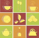 Tea flat icons on red, green and orange background, square Stock Image