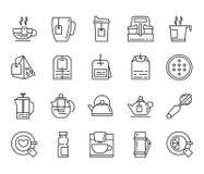 Tea flat icons. Tea. set of linear icons on a white background Royalty Free Stock Photos