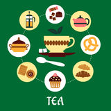 Tea flat infographic with dessert icons. Flat infographic of tea concept showing cup of tea on saucer with pieces of sugar surrounded chocolate, bakery, pastry Royalty Free Stock Photography