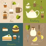 Tea flat set Royalty Free Stock Photos
