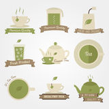 Tea flat and vintage label design Royalty Free Stock Photography