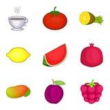 Tea flavor icons set, cartoon style Stock Photo