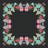 Tea flower wreath frame  time for tea Royalty Free Stock Photography