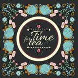 Tea flower wreath frame  time for tea Royalty Free Stock Photos