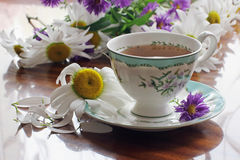 Tea and flowers Royalty Free Stock Photos