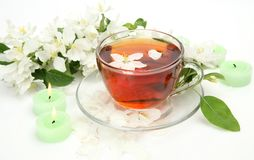 Tea and flowers Stock Image