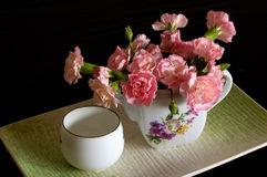 Tea and Flowers. Chinese tea and flower pot Royalty Free Stock Images