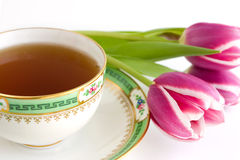 Tea and flowers Royalty Free Stock Image