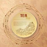 Tea and flowers doodle template pattern invitation. Greeting card. Tea Branding Design. Menu design. Royalty Free Stock Images