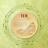 Tea and flowers doodle template pattern invitation. Greeting card. Tea Branding Design. Menu design. Stock Photo