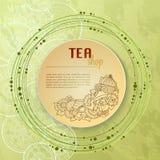 Tea and flowers doodle template pattern invitation. Greeting card. Tea Branding Design. Menu design. Stock Photo