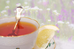 Tea with flowers and lemon Royalty Free Stock Photo