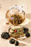 Tea Flowers and tea flower in teapot Stock Image