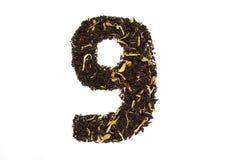 Tea font numerology figure nine ninth handwork isolated. On white background royalty free stock photography