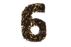 Tea font numerology figure sixth sixth handwork isolated. On white background royalty free stock photo