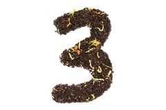 Tea font numerology figure three third handwork isolated. On white background royalty free stock image