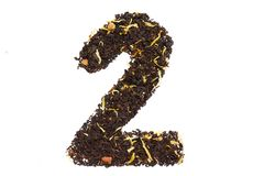 Tea font numerology figure two second handwork isolated. On white background royalty free stock photo