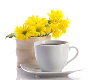Tea and fowers Royalty Free Stock Photography