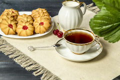 Tea fresh biscuits with cherries. On the table in the morning on nature Stock Photos