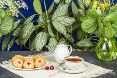 Tea fresh biscuits with cherries. On the table in the morning on nature Stock Images