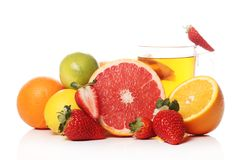 Tea with fresh fruits Royalty Free Stock Image