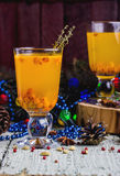 Tea with a fresh sea-buckthorn Royalty Free Stock Photos