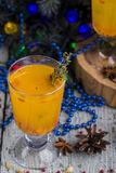 Tea with a fresh sea-buckthorn Royalty Free Stock Image
