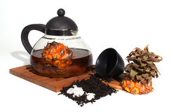 Tea and fruit Stock Photography