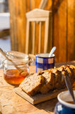 Tea and fruit bread outside winter cottage Royalty Free Stock Photography