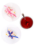 Tea and fruit candy Royalty Free Stock Photography